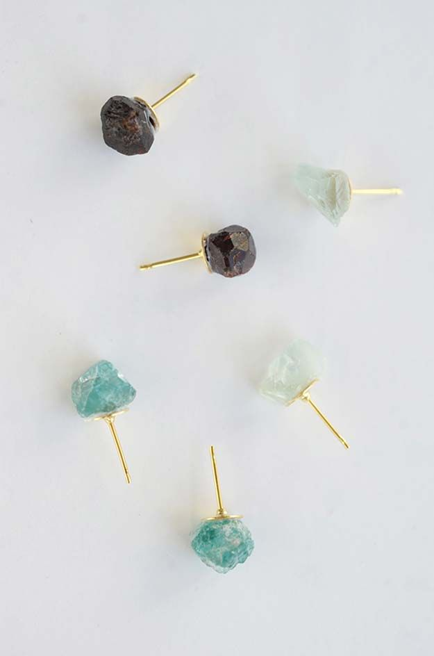 Diy Earrings And Homemade Jewelry Projects Raw Stone Easy Studs Ideas With