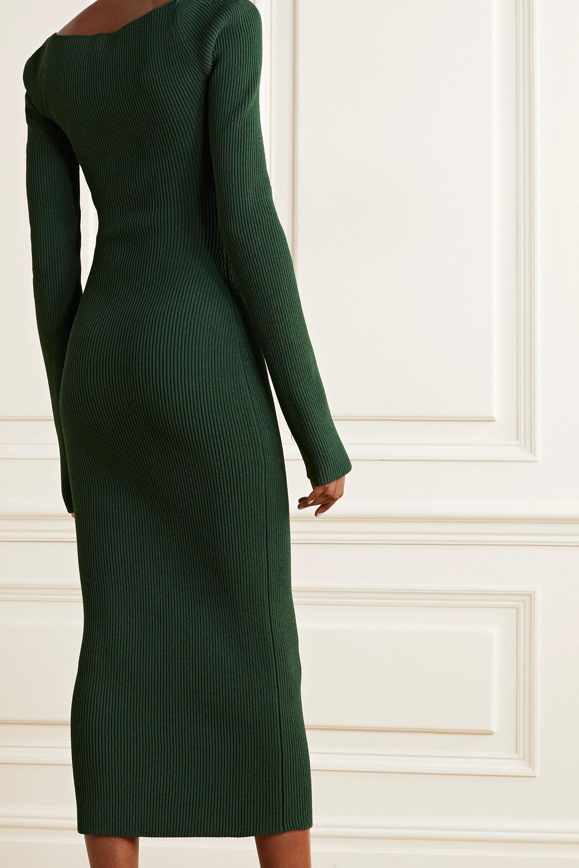 Green Beth Ribbed Knit Midi Dress Khaite In 2021 Knit Midi Dress Knit Midi Bodycon Dress Casual [ 2999 x 2000 Pixel ]
