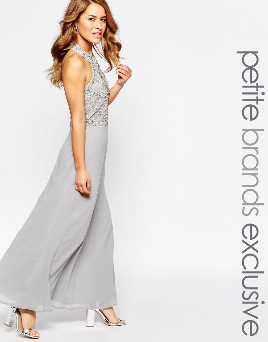 3802d4b62aa Image 1 of Maya Petite Halter Embellished Body Maxi Dress