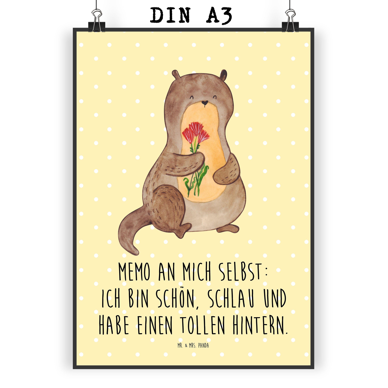 Poster DIN A3 Otter Blumenstrauß