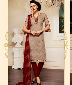Buy Beige Chanderi Cotton Churidar Suit 71442 online at lowest price from huge collection of salwar kameez at Indianclothstore.com.