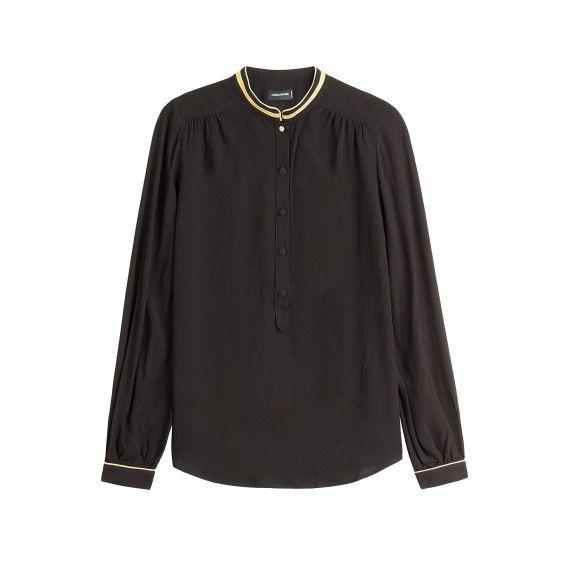 Bluse mit dekorativen Borten - black