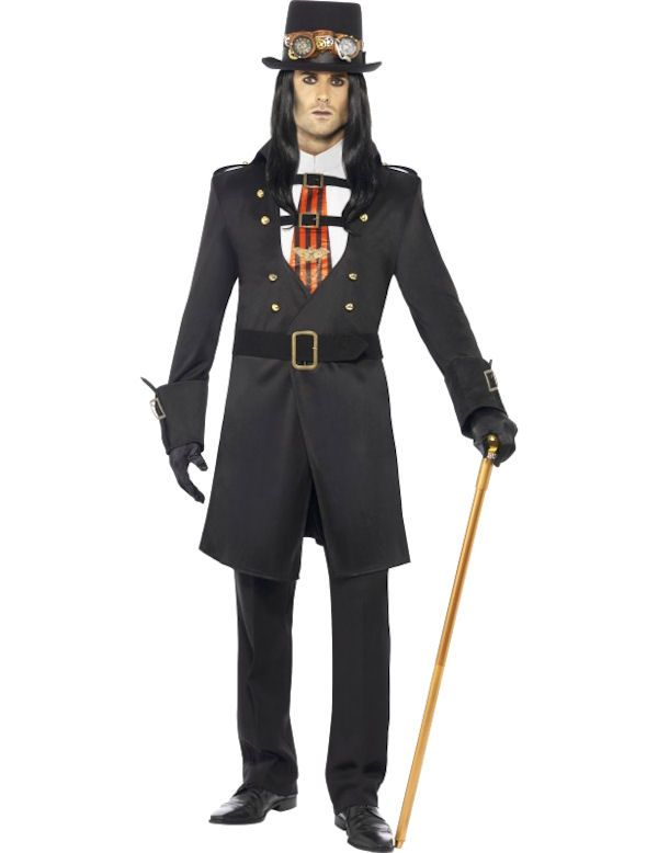 f226ac78 This Halloween Victorian Vampire Costume from our Deluxe steam punk Range  includes a Long Black Coat with buckles on the Cuffs, gold buttons and a  matching ...