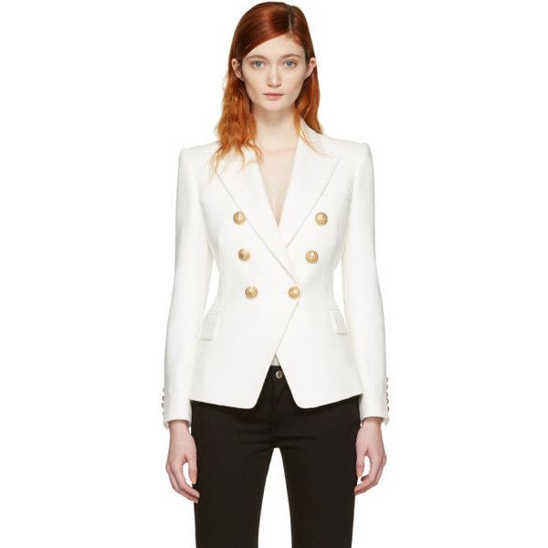 Balmain White Double-Breasted Blazer ($2,015) ❤ liked on Polyvore featuring outerwear, jackets, blazers, white, double-breasted blazer, balmain blazer, peak lapel blazer, cotton jacket and blazer jacket