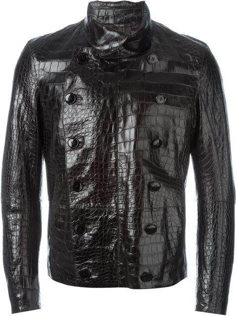 GIORGIO ARMANI Alligator Leather Buttoned Jacket.  giorgioarmani  cloth   jacket 5c873d3fa1d