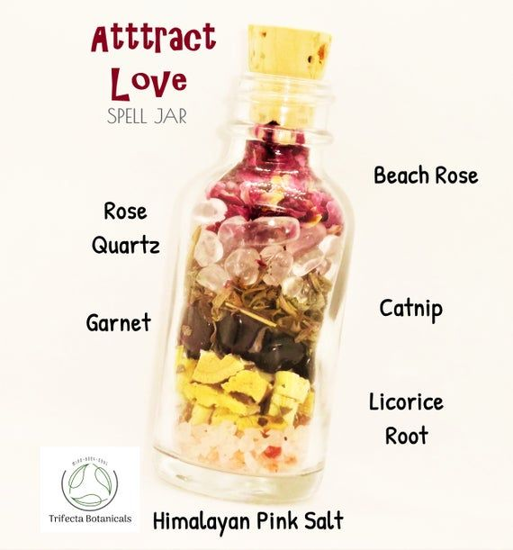 ATTRACT LOVE Spell Jar of Crystals + Herbs + Salt // Intention Bottle for Candles Mojo Bag Wicca Rit