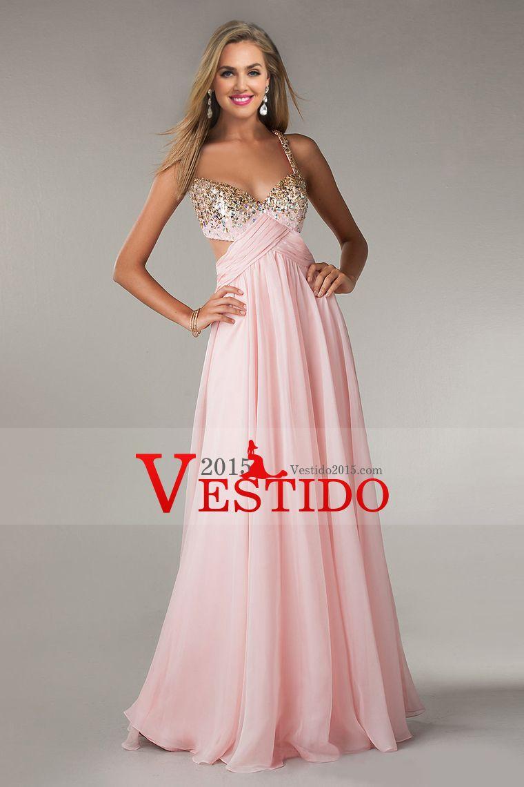 2014 Vestidos fiesta A-Line Cruz Volver gasa palabra de longitud ...