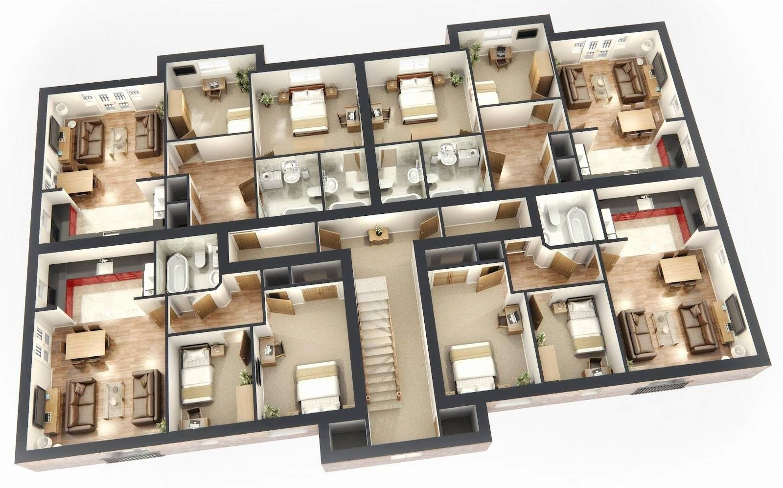 5 Bedroom House Plans 3d Fresh Another Big House 3d House Plans Floor Plans Small Apartment House Plans 3d House Plans House Blueprints