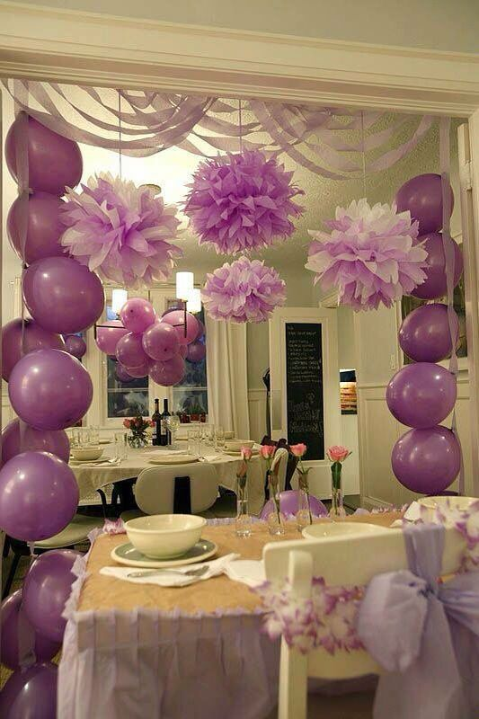 Balloon Decorations Purple Birthday For Bridal Shower 21st Party