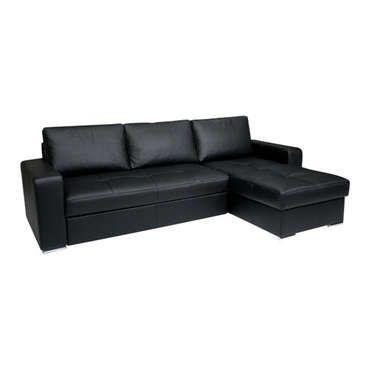 91d7e41fe308e Canapé d angle convertible et réversible FLORES coloris noir CONFORAMA