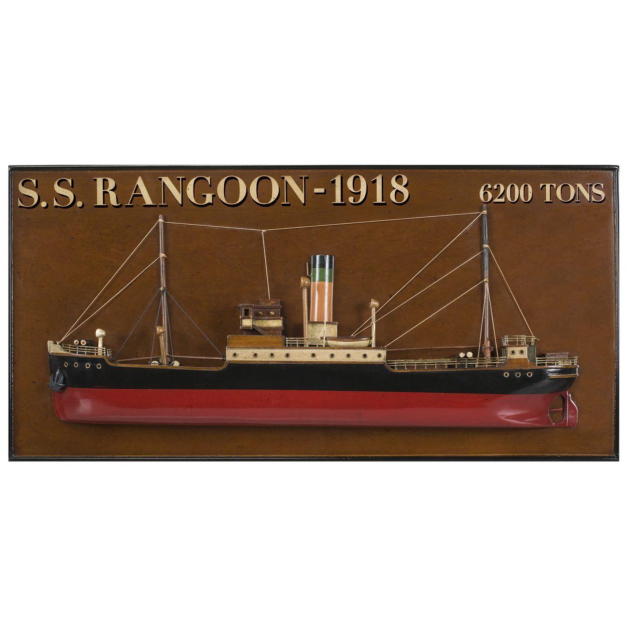 ... (http://www.captjimscargo.com/nautical-home-decor/other-nautical-decor/s-s-rangoon-1918-tramp-steamer-wooden-half-model-25-wall-decor/)  The Rangoon ...
