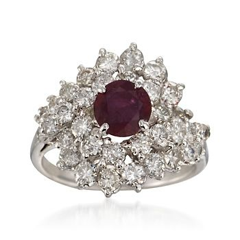 C. 1990 Vintage .75 Carat Ruby and 2.00 ct. t.w. Diamond Cluster Ring in Platinum. Size 7.5