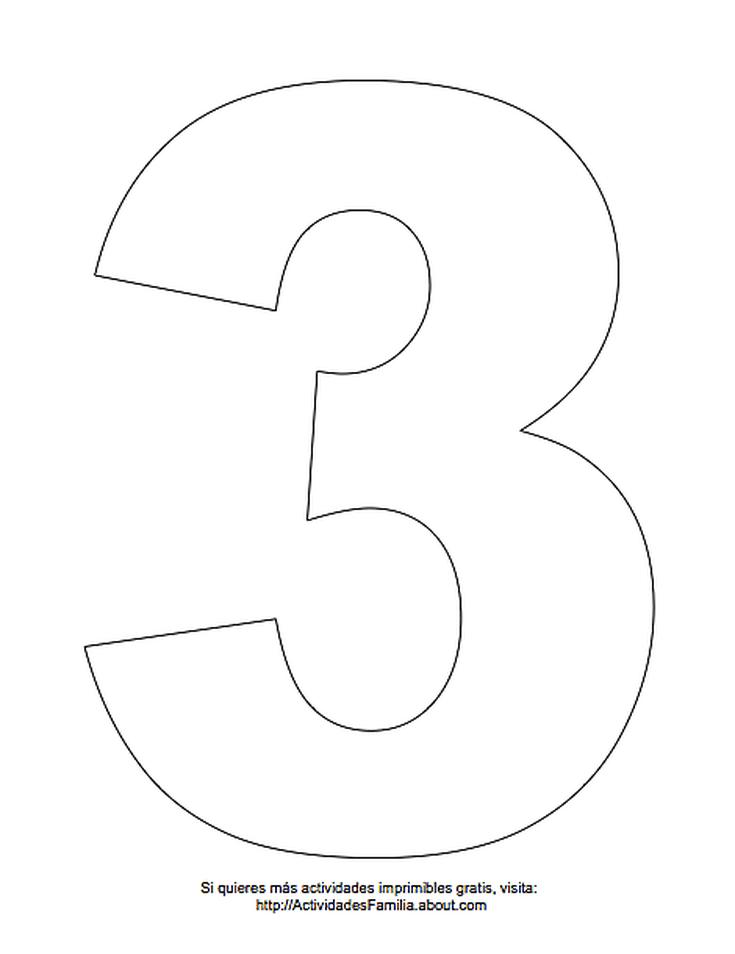 Dibujos de números para colorear: Número 3 para colorear   lolis ...