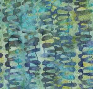 Bali Handpaints Tidepool - vertical leaves print on turquoise blue-green batik H2307-560