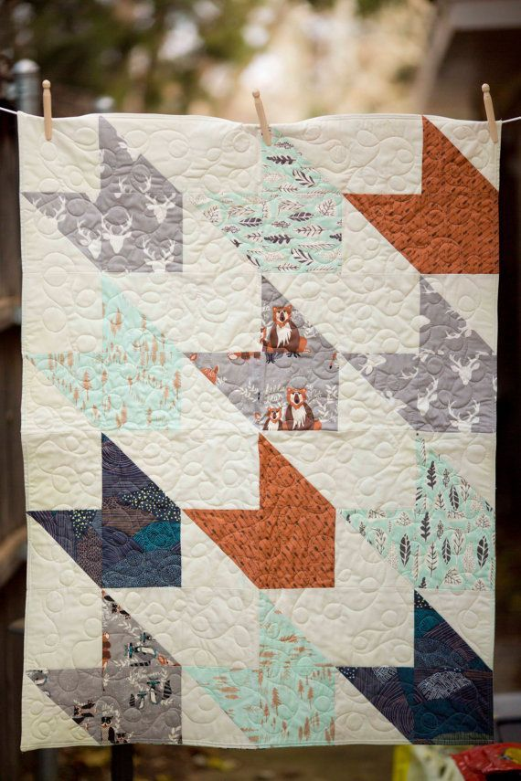 Hello Bear, Modern baby quilt, Baby Quilt, Woodlands Baby Bedding ... : modern baby quilt patterns - Adamdwight.com