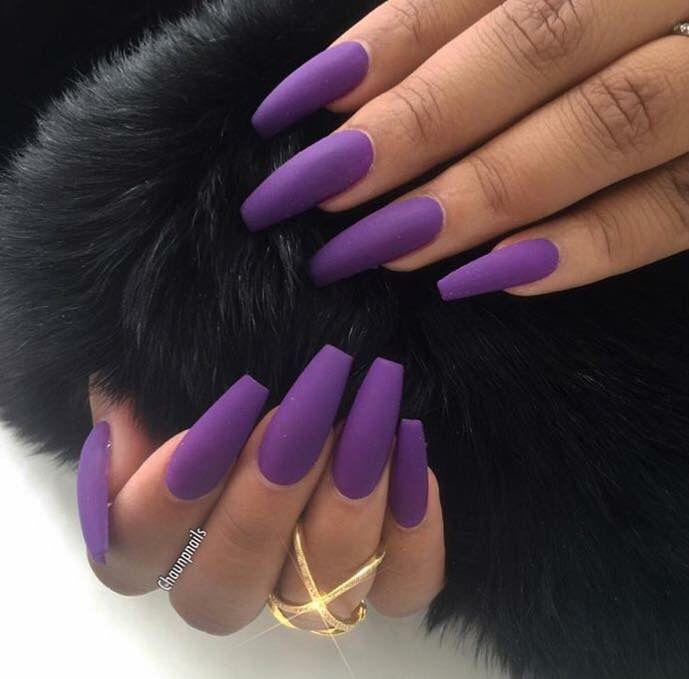 Purple Matte Nails | Long Nails | Pinterest | Matte nails and Purple