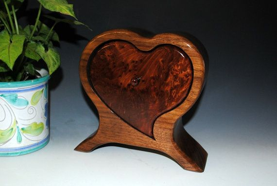 Handmade Wooden Heart Shaped Box Redwood Burl On By Burlwoodbox Wood Jewelry Box Wooden Hearts Wood Gift Box