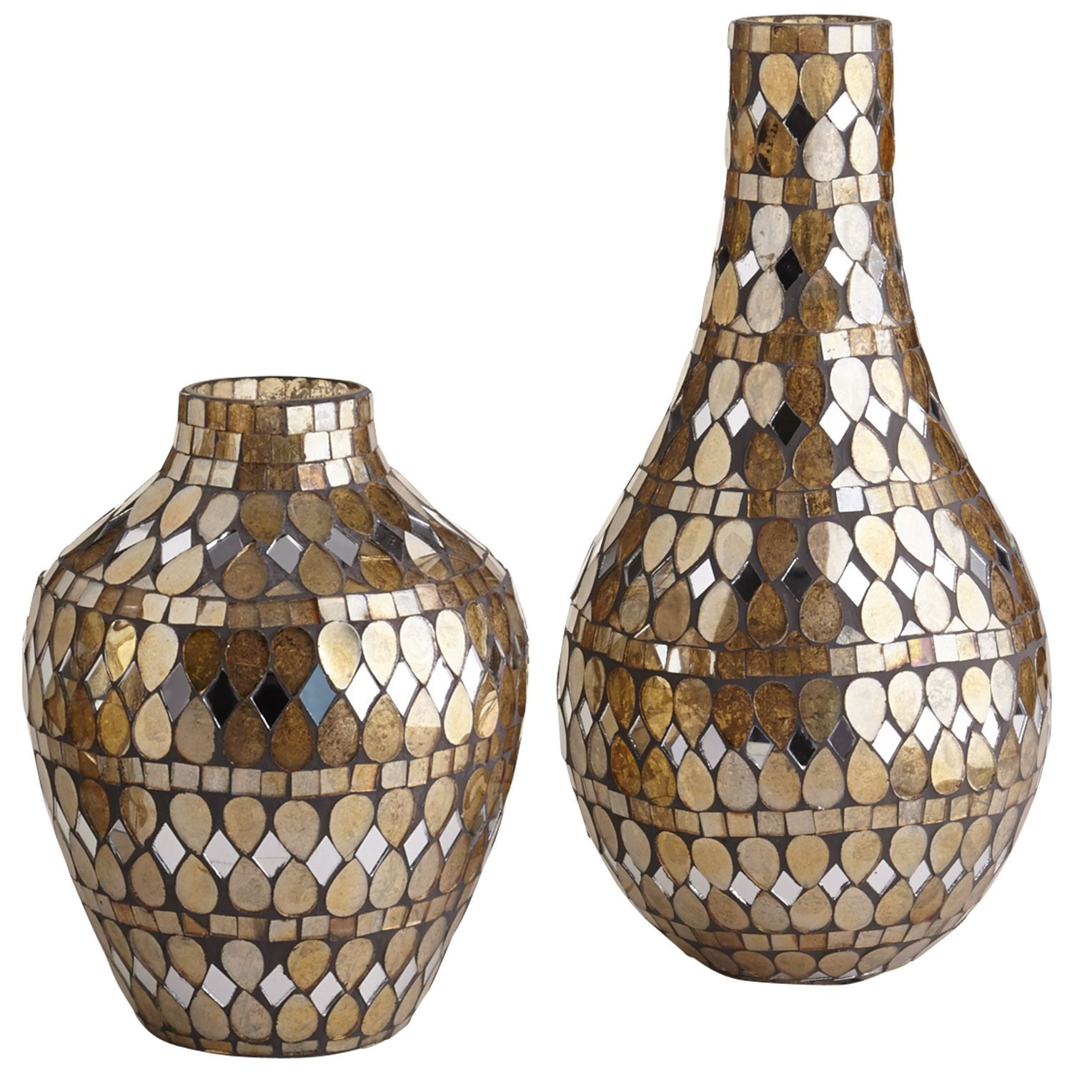 Golden Mosaic Vases Glass Mosaic Vase Vases Decor Vase