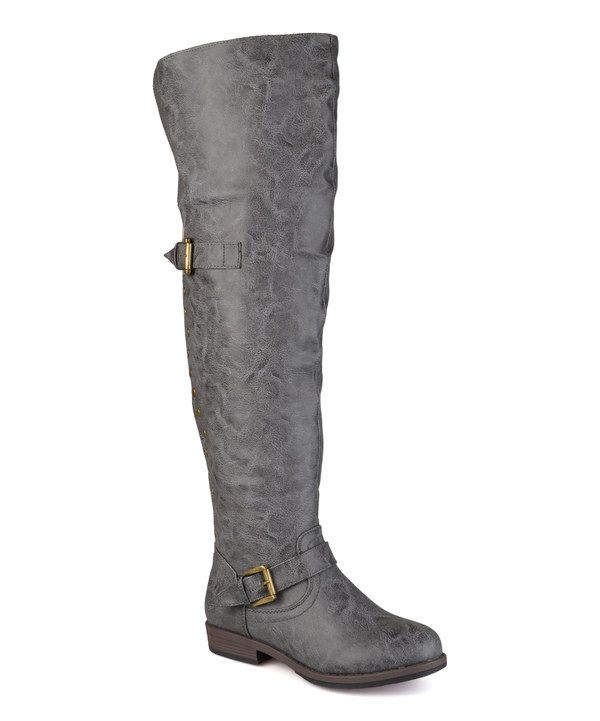 Look at this Journee Collection Dark Gray Kane Wide-Calf Over-the-Knee Boot on #zulily today!