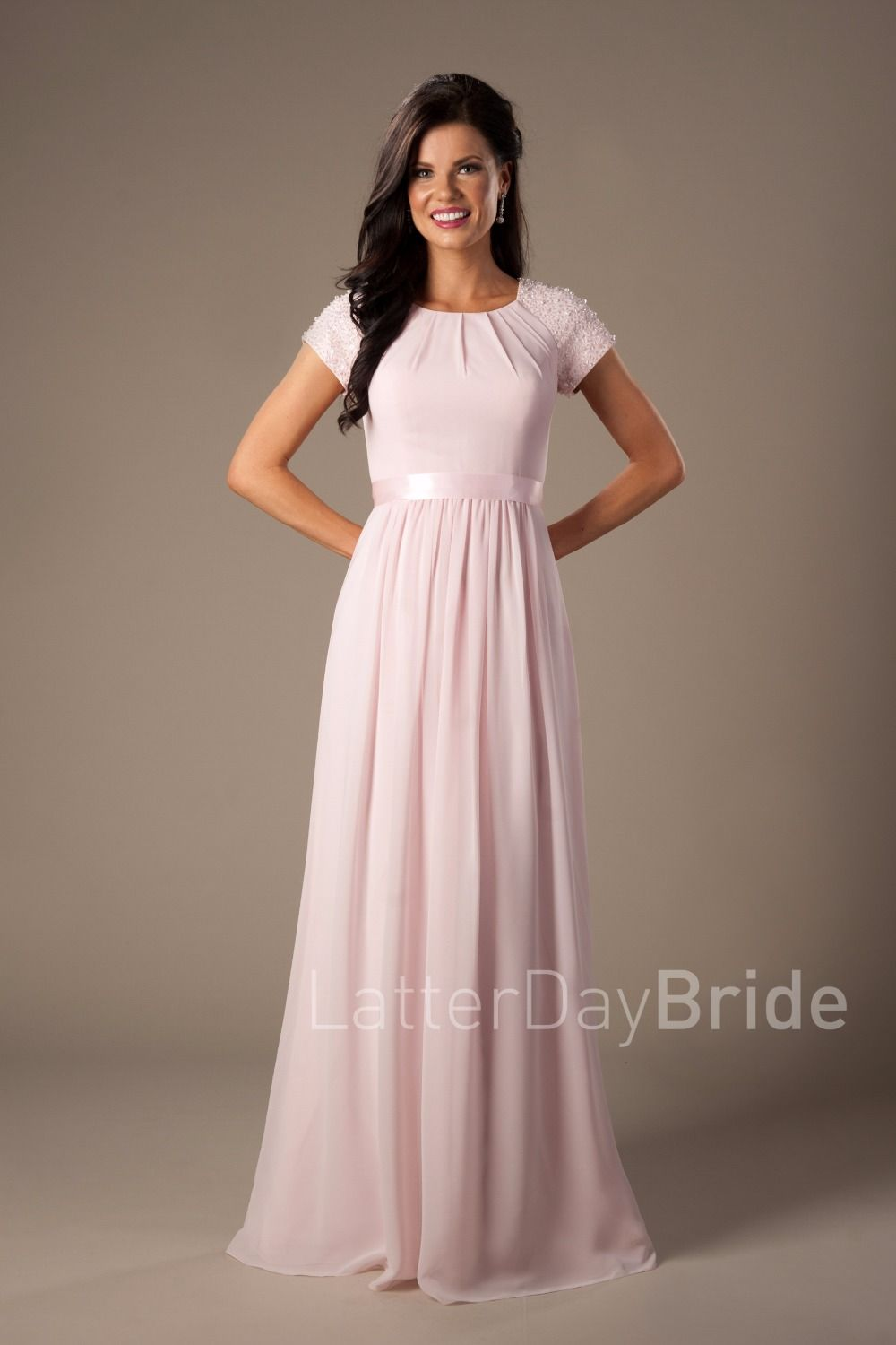 Click to buy beaded pink long chiffon modest bridesmaid dresses click to buy beaded pink long chiffon modest bridesmaid dresses with cap ombrellifo Choice Image