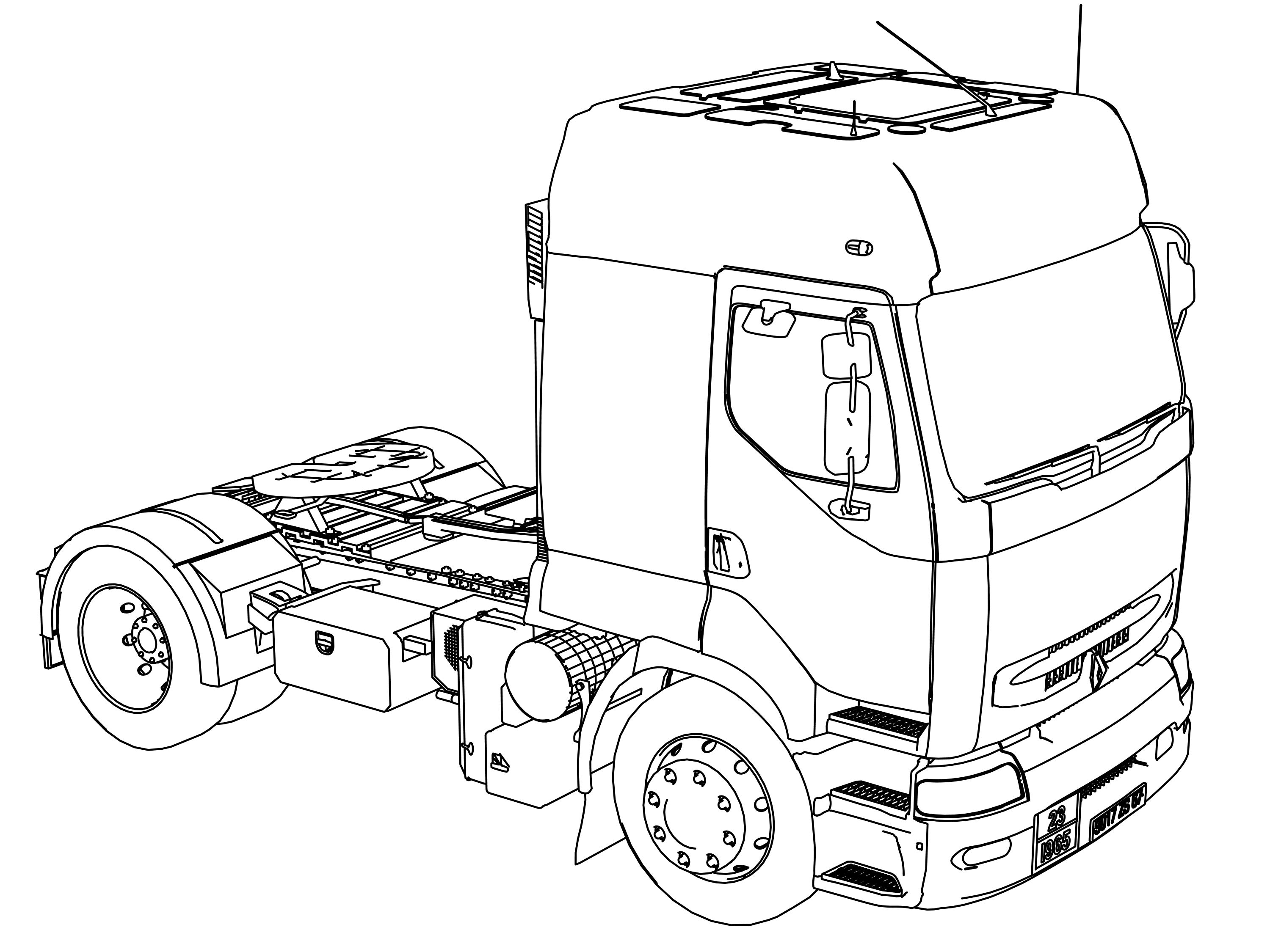 cool Renault Premium 420 Long Vehicle Truck Coloring Page