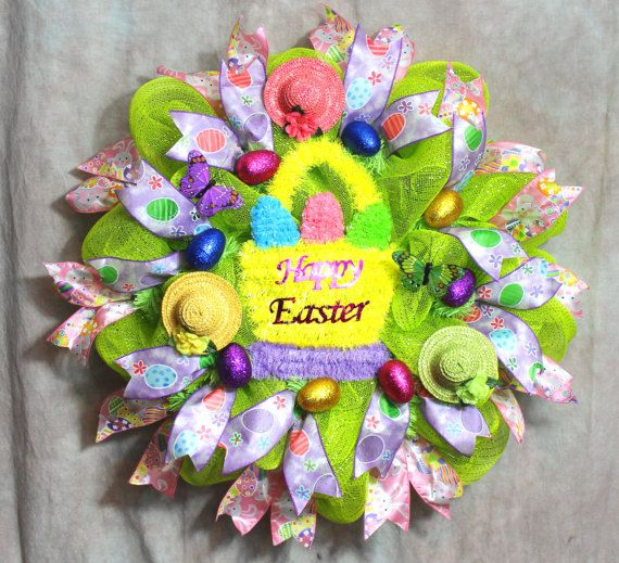 Easter Wreath, Easter Deco Mesh, Easter Egg Wreath, Easter Basket ...