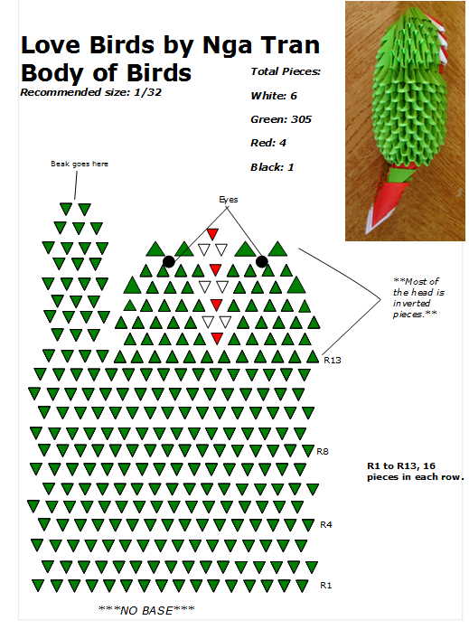 01. Love Birds Body Diagram   3D Origami Bird   Pinterest   Body ...