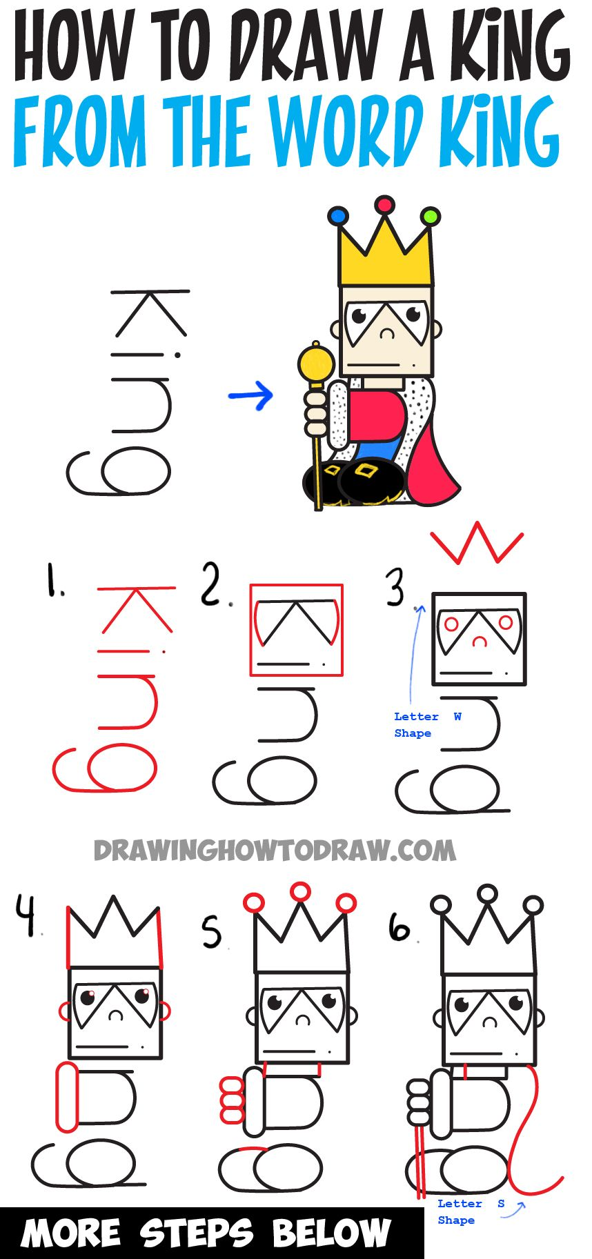 How To Draw Cartoon King From The Word : Easy Step By Step Word Toon For