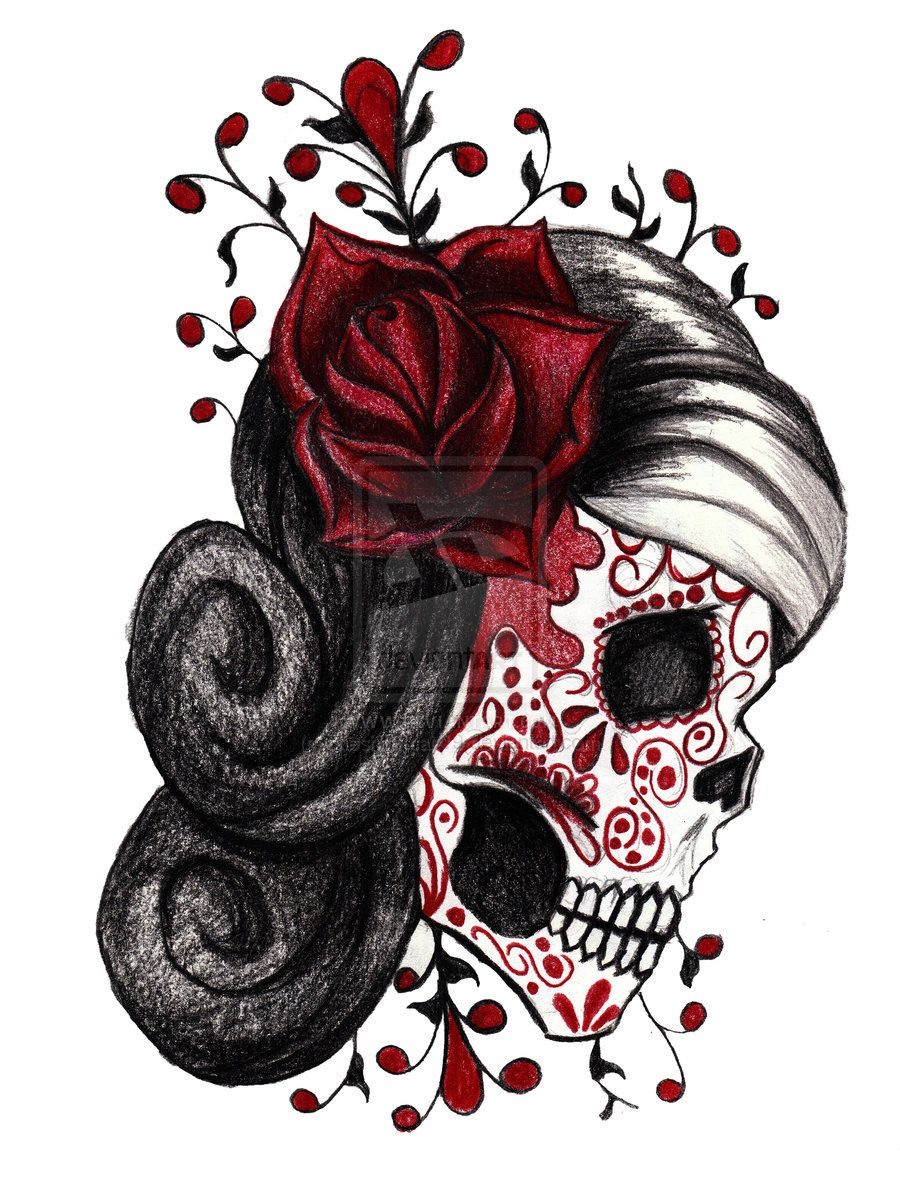 sugar skull and rose tattoos