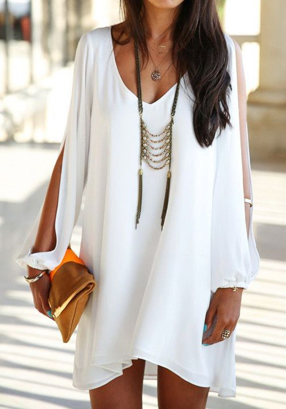 Slit Cutout Short Dress - Partially Lined White Dress