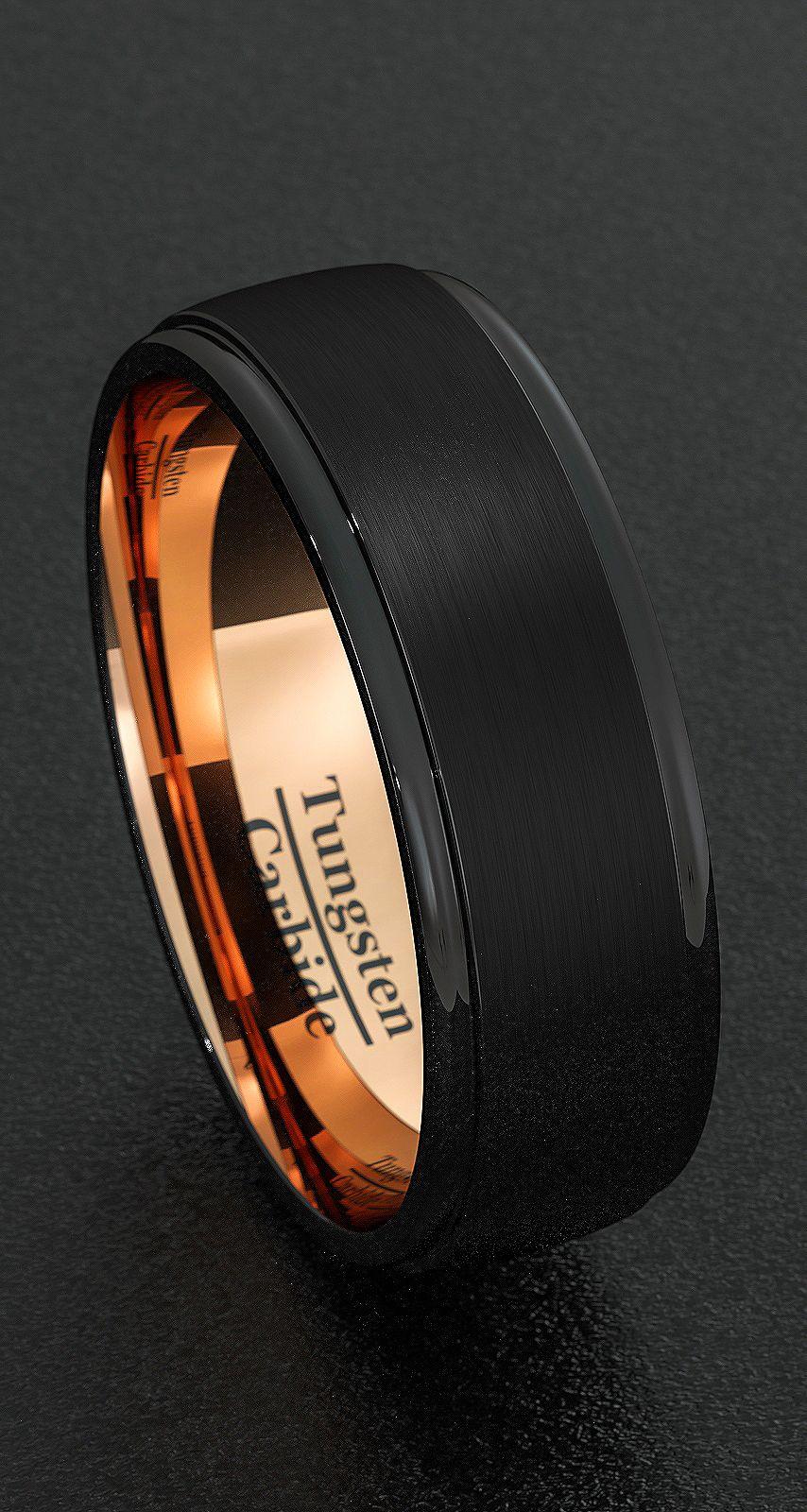 Mens Wedding Bands 8mm Tungsten Rings Black Brushed Step Edge Rose Gold Inner Comfort Fit