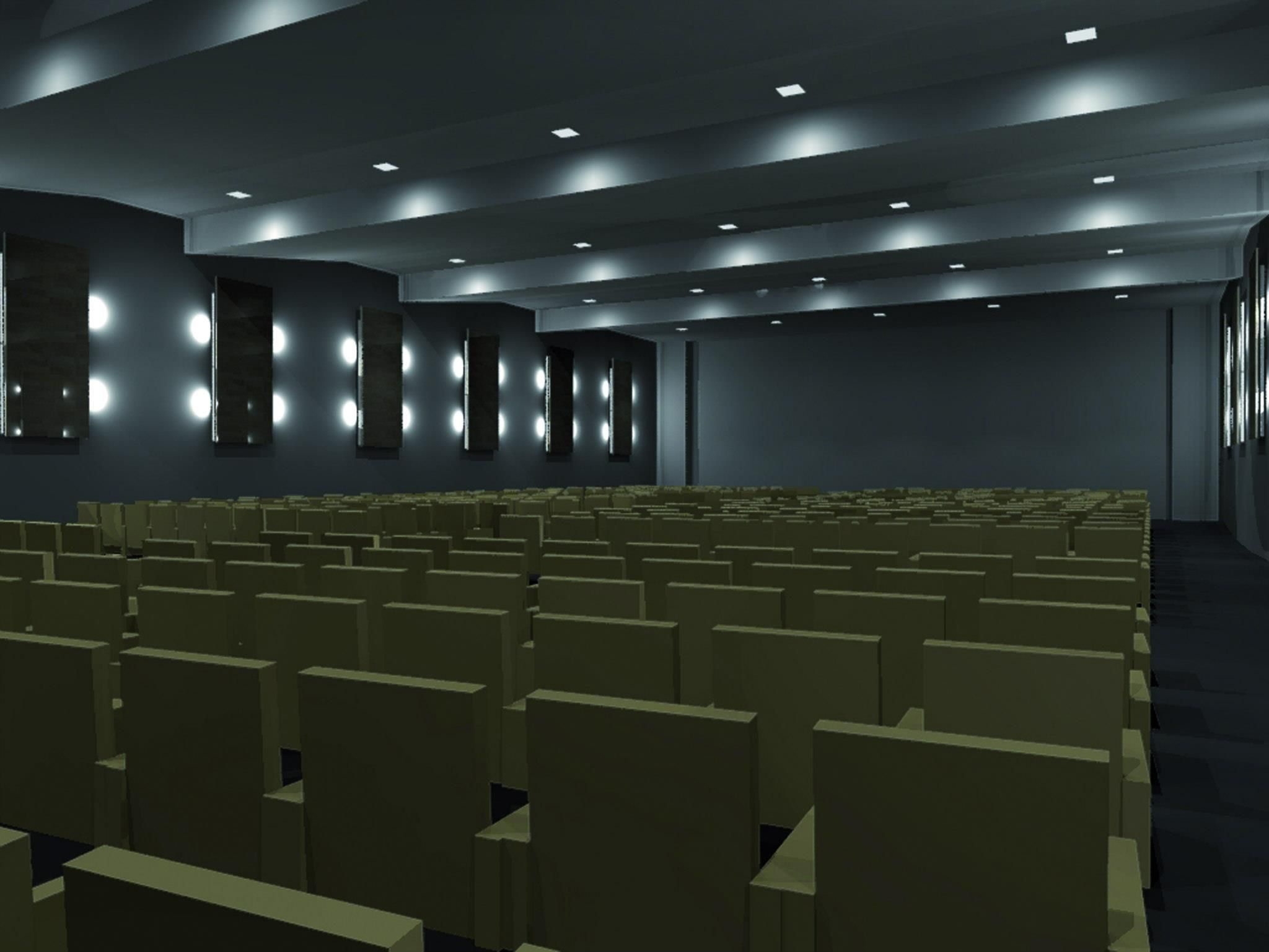 Rendering Of A Lighting Design Project Conference Hall