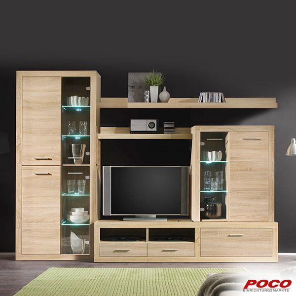 Wohnwand Cancan Sonoma Eiche Nachbildung In 2020 Living Room Tv Unit Designs Furniture Design Chair Wardrobe Design Bedroom