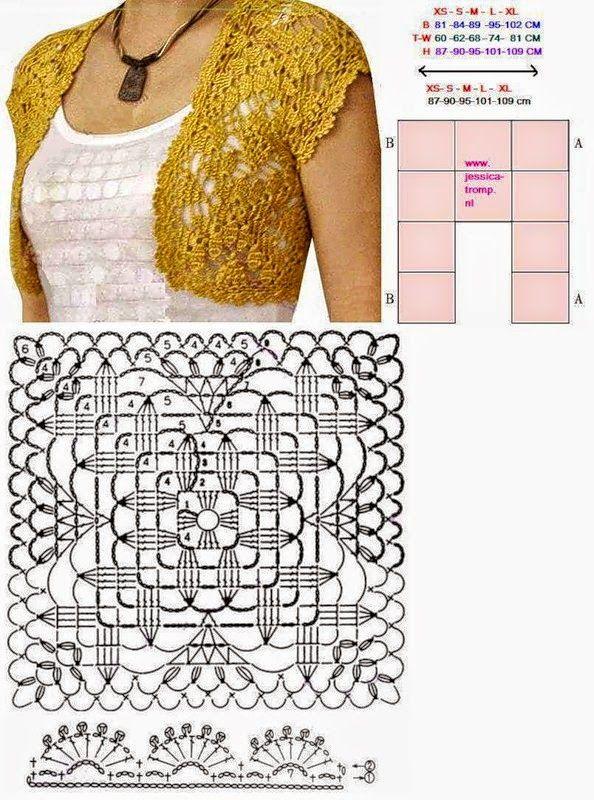 Un diseño sencillo y delicado para este bolero simple, muy fácil de ...