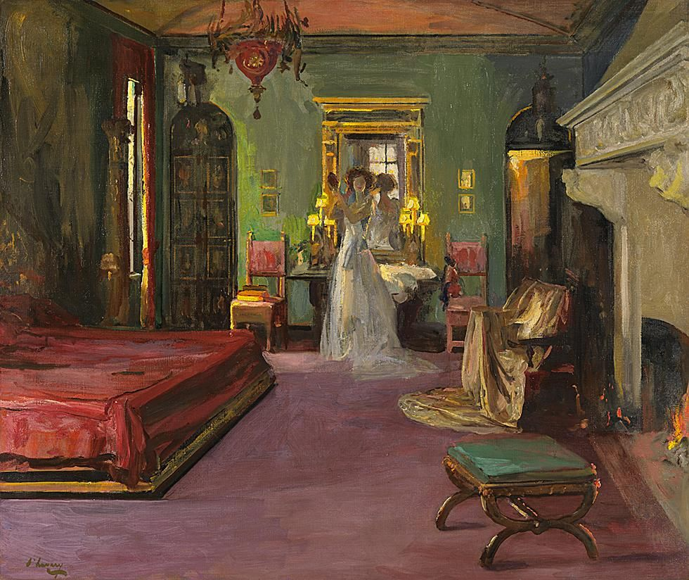 Sir John Lavery, Mrs. [Walter] Rosen's Bedroom,1926. The Rosen's Manhattan townhouse at 35 W 45th Street was located just down the block from John D. Rockefeller's house, but while his house is long gone--sort of: these days, its Moorish Smoking Room is at the Brooklyn Museum--the Rosen's house is still there, and landmarked, too. But if this room still exists, it's probably lost its richly-colored Venetian decor.  --MV.