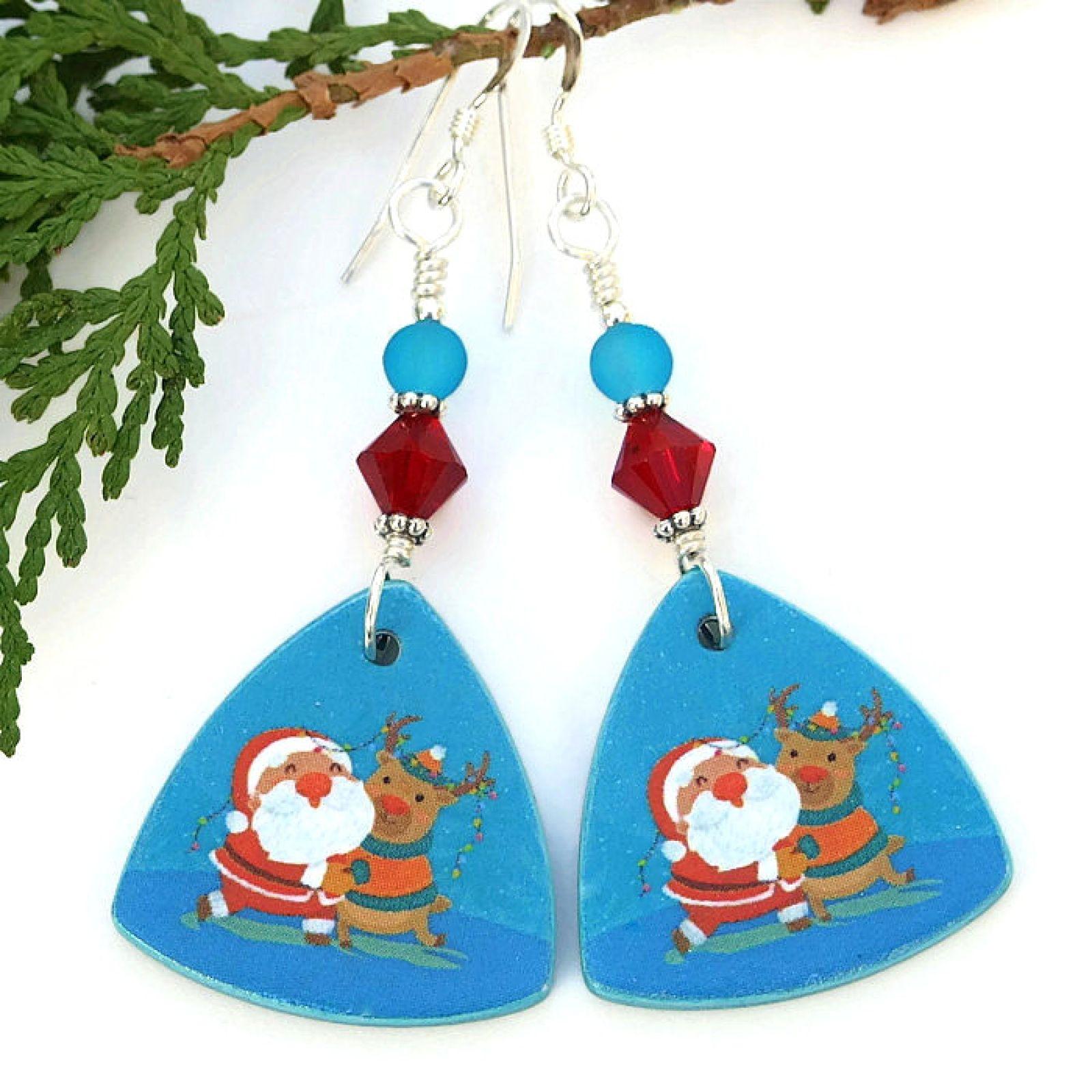Christmas earrings reindeer handmade