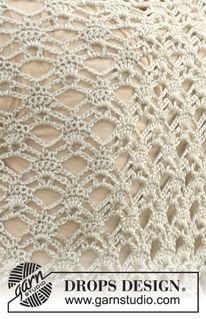 """Hæklet DROPS sjal i """"Cotton Viscose"""". ~ DROPS Design"""
