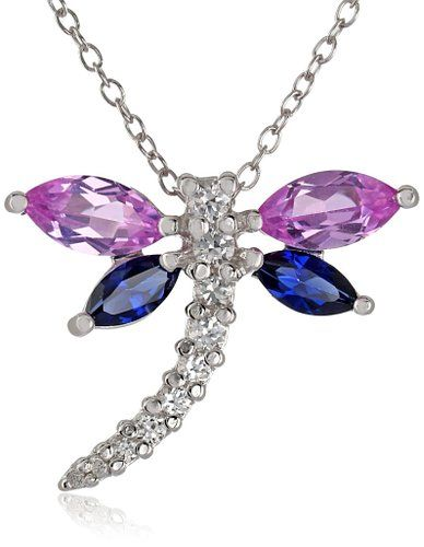 """Sterling Silver Multi-Colored Created Sapphire Dragonfly Pendant Necklace, 18"""""""