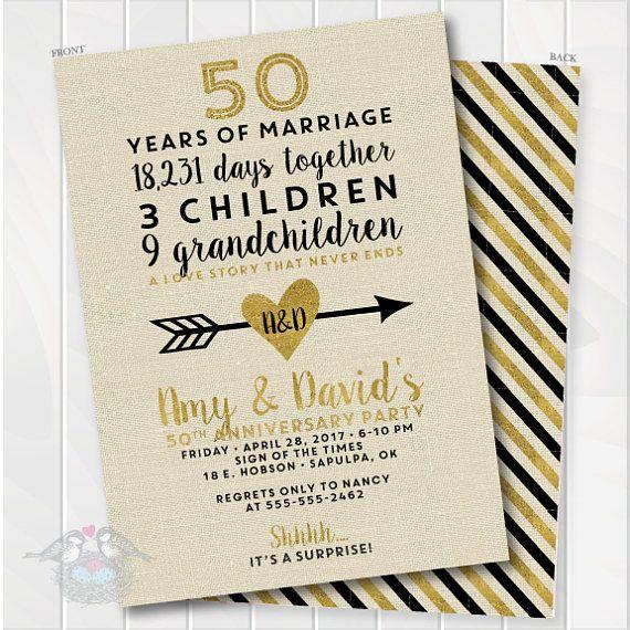 Golden Wedding Anniversary Invitation 50th Anniversary Etsy 50th Wedding Anniversary Invitations 50th Anniversary Invitations Anniversary Party Invitations