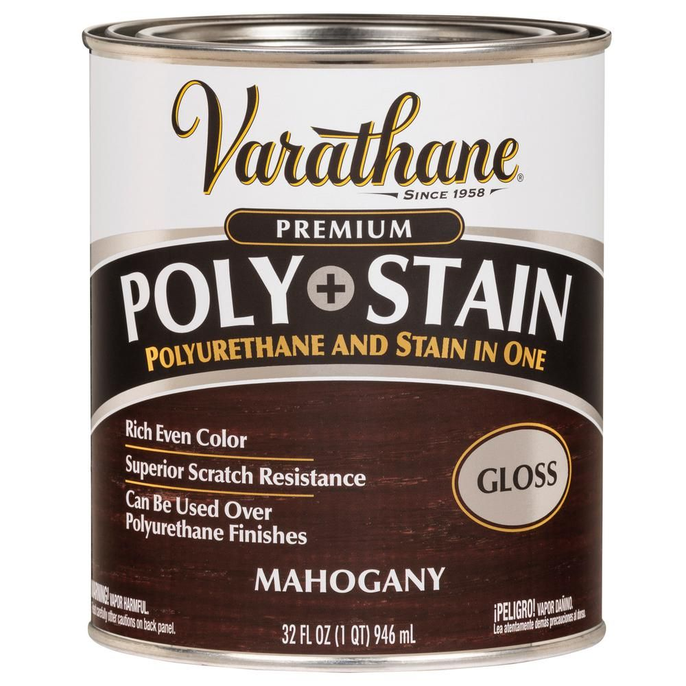 Varathane 1 Qt Mahogany Gloss Water Based Interior Polyurethane And Stain 2 Pack 339781 In 2020 Interior Wood Stain Varathane Mission Oak