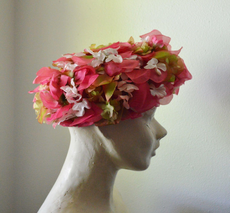 Vintage Hat 1950s Woman Hat Silk Flower Hat Silk Organza Floral Hat
