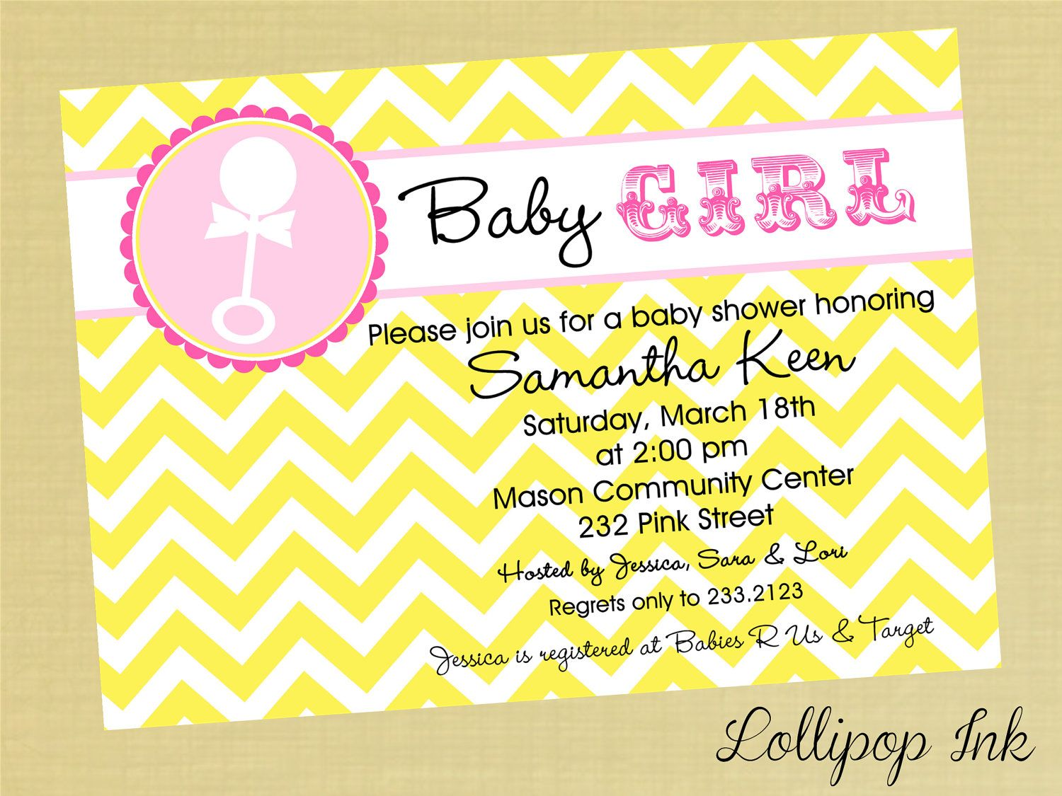 Yellow Chevron Print Baby Shower Printable Invitation, Personalized ...