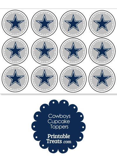 Printable Cowboys Logo Cupcake Toppers From