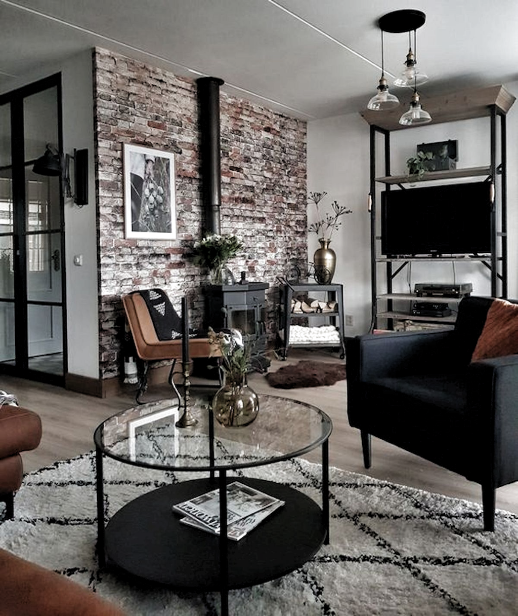 72 Industrial Living Room Decor Ideas 46 Living Room 72 Industrial Li In 2020 Industrial Style Living Room Industrial Decor Living Room Brick Wallpaper Living Room