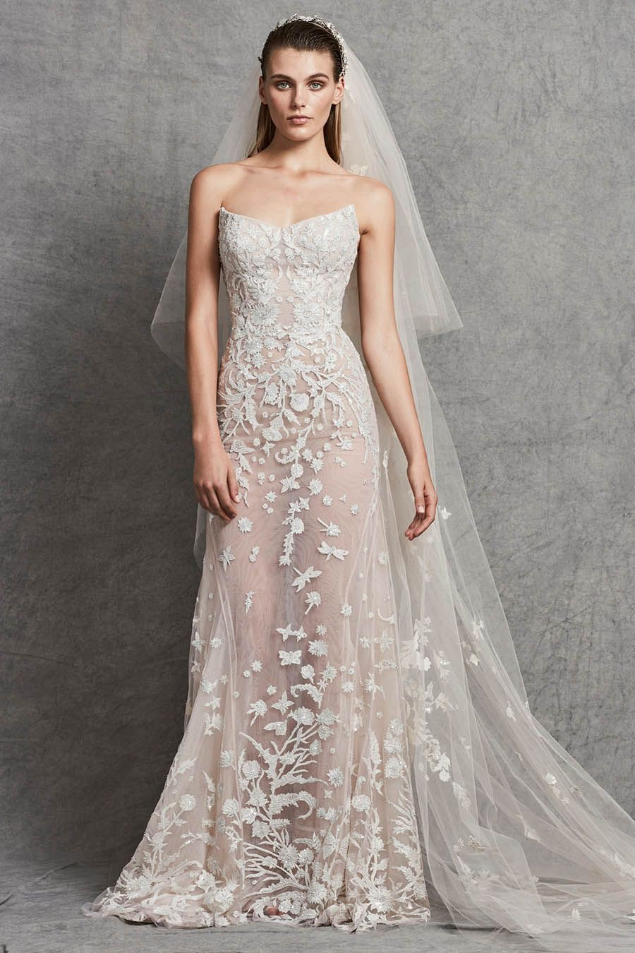 Sheer see through sleeveless tube top wedding dress with short veil ...