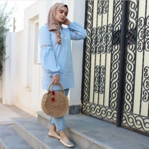 88b0e56ad771 Light Blue Blouse Hijab Style Summer 2018 Just Trendy Girls