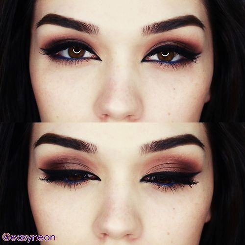 Blue Eyeliner Dark Makeup For Brown Eyes Dark Makeup Pretty Makeup Grunge Makeup