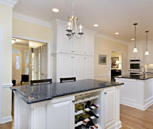 White Kitchen Cabinets Yellow Granite: Transitional Island Style Pale Yellow