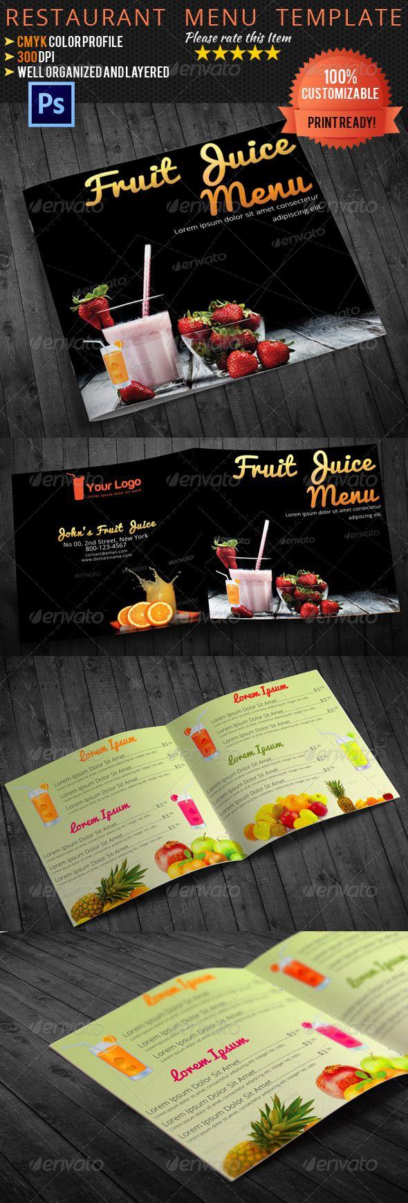 Bi Fold Square Fruit Juice Menu Template Juice Menu Menu Template Fruit Juice