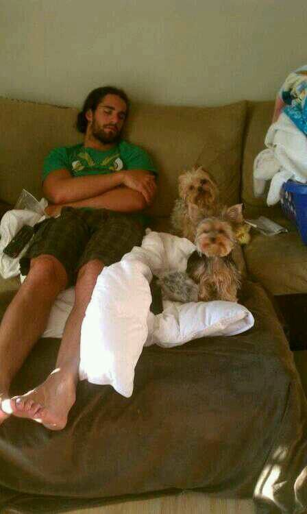 Seth and his cute dogs